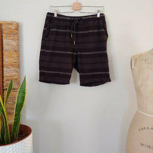 Ezekiel Mens Striped Shorts Elastic Waist 33